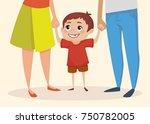 little happy boy is holding... | Shutterstock .eps vector #750782005