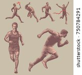 athletes runners. design set.... | Shutterstock .eps vector #750784291