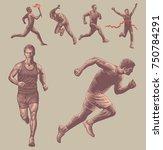athletes runners. design set.... | Shutterstock .eps vector #750784291