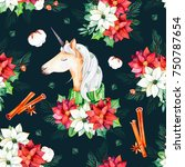 seamless christmas pattern with ... | Shutterstock . vector #750787654