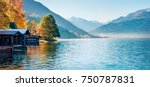 sunny morning panorama of zell... | Shutterstock . vector #750787831