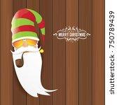 vector bad rock n roll dj santa ... | Shutterstock .eps vector #750789439