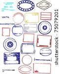 editable blank passport stamps | Shutterstock . vector #75079201