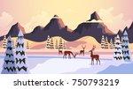 beautiful nature winter vector...   Shutterstock .eps vector #750793219