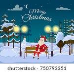 merry christmas from santa... | Shutterstock .eps vector #750793351
