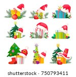 set of gift boxes with santa... | Shutterstock .eps vector #750793411