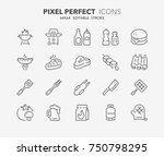 thin line icons set of barbecue ... | Shutterstock .eps vector #750798295