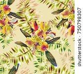 tropical flowers seamless... | Shutterstock . vector #750798307