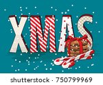 abstract text xmas withcookies... | Shutterstock .eps vector #750799969
