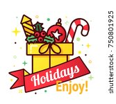 vector christmas gift box with... | Shutterstock .eps vector #750801925