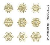 set of 6 elements. line gold... | Shutterstock . vector #750805171