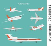 vector illustration of airplane ... | Shutterstock .eps vector #750805861