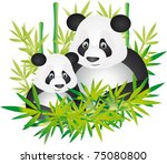 cute giant panda and baby... | Shutterstock . vector #75080800