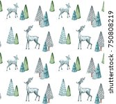 watercolor christmas seamless... | Shutterstock . vector #750808219