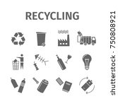recycling icons. waste sorting... | Shutterstock . vector #750808921