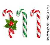 xmas lollipop set  | Shutterstock . vector #750817741