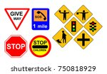 traffic road signs set isolated ... | Shutterstock .eps vector #750818929