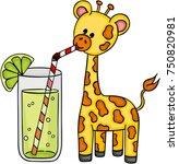cute giraffe drinking... | Shutterstock .eps vector #750820981