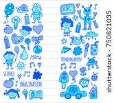 school  kindergarten. happy... | Shutterstock .eps vector #750821035