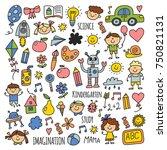 school  kindergarten. happy... | Shutterstock .eps vector #750821131