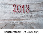 new year 2018 background on a... | Shutterstock . vector #750821554