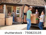 family unloading boxes from... | Shutterstock . vector #750823135