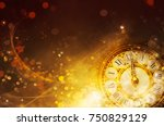new year background. golden  | Shutterstock . vector #750829129