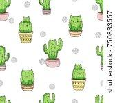 Seamless Cactus Cats Pattern....