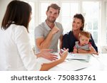 family with baby meeting... | Shutterstock . vector #750833761