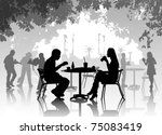 street cafe with resting people | Shutterstock .eps vector #75083419