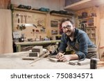 wood designer working in... | Shutterstock . vector #750834571
