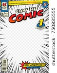 Comic book cover template. Art conceptual | Shutterstock vector #750835555