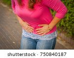young woman with menstrual pain ... | Shutterstock . vector #750840187