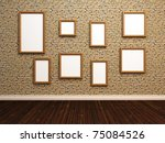Empty photo frames on stone tile wall. 3d illustration - stock photo