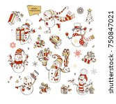 vector set of cute snowmen.... | Shutterstock .eps vector #750847021