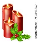 christmas candles and holly... | Shutterstock .eps vector #750848767