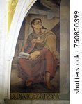Small photo of ZAGREB, CROATIA - AUGUST 19: Prophet Isaiah, fresco in the church of St. Mark in Zagreb, Croatia on August 19, 2017.