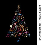 2018 christmas tree with silver ... | Shutterstock . vector #750851395