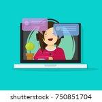 girl in headset chatting or...   Shutterstock .eps vector #750851704