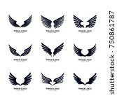 wings logo vector set | Shutterstock .eps vector #750861787