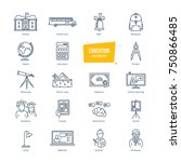 education thin line icons ... | Shutterstock .eps vector #750866485