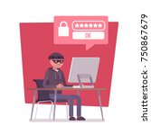 hacker cracking password.... | Shutterstock .eps vector #750867679