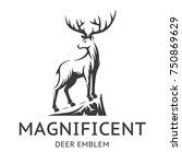 magnificent deer emblem ...   Shutterstock .eps vector #750869629