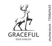 graceful deer emblem ... | Shutterstock .eps vector #750869635