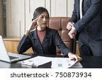 upset woman being scolded by... | Shutterstock . vector #750873934