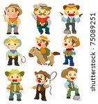 cartoon cowboy icon | Shutterstock .eps vector #75089251
