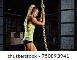 crossfit woman preparing for... | Shutterstock . vector #750893941
