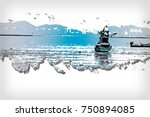 abstract long boat fishing in... | Shutterstock . vector #750894085