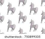 Stock vector unicorn cartoon seamless pattern 750899335