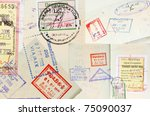 passport stamps background with ... | Shutterstock . vector #75090037